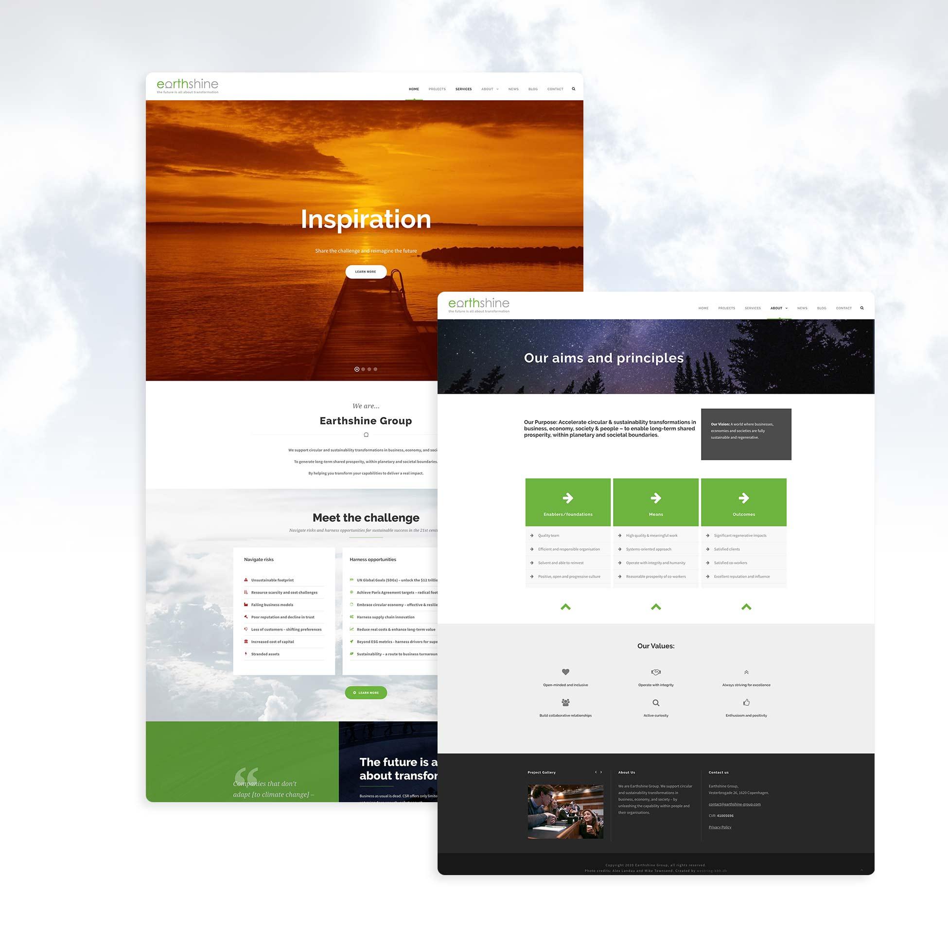 Hjemmeside design lavet til earthshine