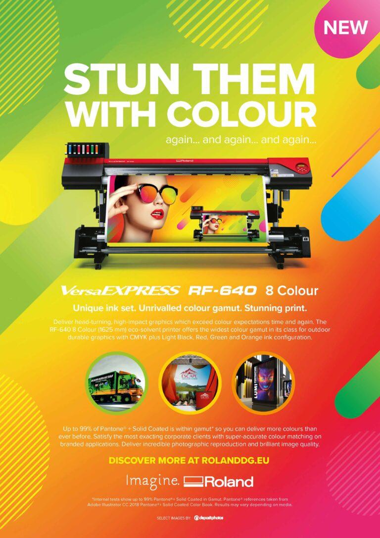 Farvefuld printer annonce til Roland