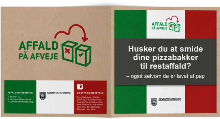 Folder med info om affaldssortering af pizzabakker